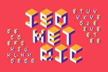 Isometric 3d Font, Three-dimensional Alphabet Letters