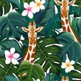 Egzotyczny letni druk. Bezszwowy wzór z drzewkiem palmowym, żyrafą i hibiskusa kwiatem. Ilustracji wektorowych - 239464015