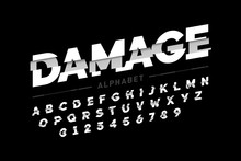 Damaged Font Design, Alphabet Letters And Numbers