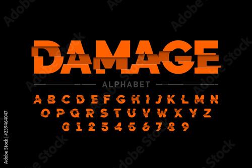 Fotografía  Damaged font design, alphabet letters and numbers