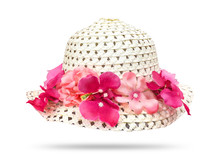 Straw Hat With Pink Flower Isolated On White Background. Beautiful Flowers Hat. ( Clipping Path )