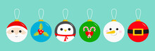 Merry Christmas Ball Toy Hanging Icon Set. Santa Claus Head, Red Coat Golden Belt Snowman Holly Berry Penguin Candy Cane Tree Decoration. Cute Cartoon Character. Blue Background. Flat Design.
