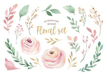 Watercolor Boho Floral Wreath. Bohemian Natural Frame: Leaves, Feathers, Flowers, Isolated On White Background. Artistic Decoration Illustration. Save The Date, Weddign Design