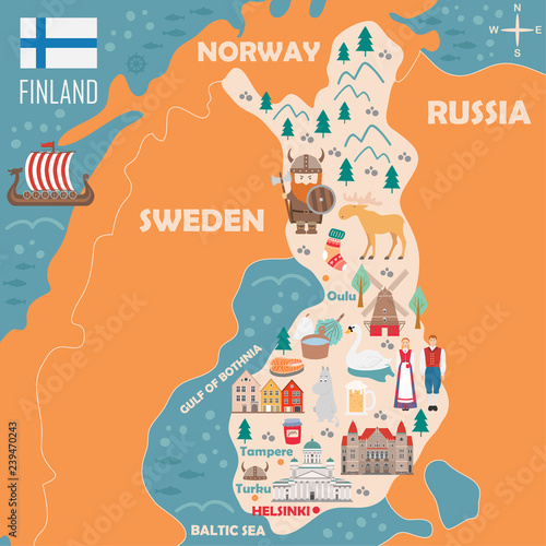 Stylized map of Finland Wallpaper Mural