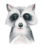 Watercolor cartoon isolated cute baby raccoon animal with flowers. Forest nursery woodland illustration. Bohemian boho drawing for nursery poster, pattern - 239470467