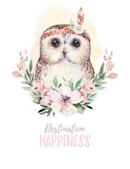 Fototapeta Do pokoju dziecka Watercolor cartoon isolated cute baby owl animal with flowers. Forest nursery woodland illustration. Bohemian boho drawing for nursery poster, pattern