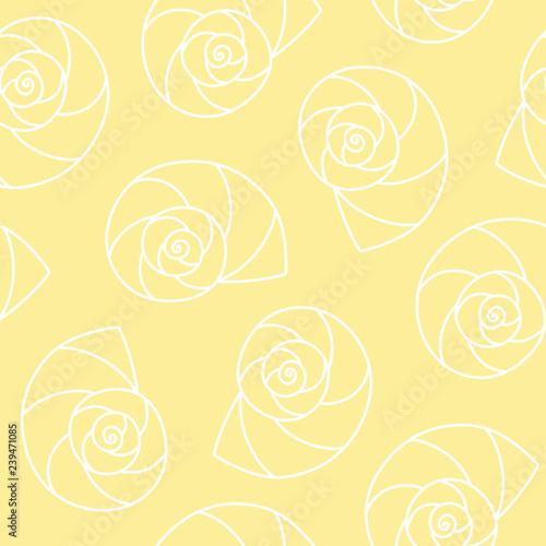 Fotografie, Obraz  white seashells nautilus pompilius spiral on yellow background sea ocean shell p