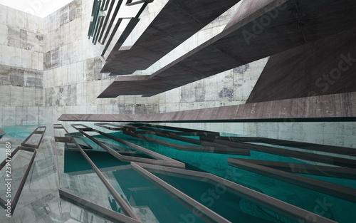 Obrazy turkusowe  abstract-interior-of-concrete-with-blue-water-architectural-background-3d-illustration-and