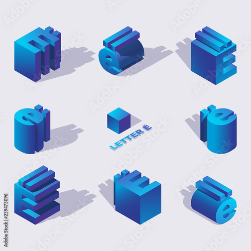 Fotografie, Obraz  Vector blue color russian letter Yo 3d in isometric style