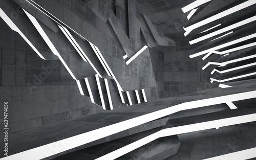 pusty-ciemny-abstrakcjonistyczny-betonowy-pokoju-wnetrze-tlo-architektoniczne-nocny-widok-podswietlanego-ilustracja-3d-i-renderowania