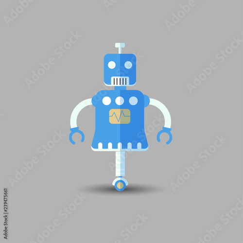 Poster Robots Retro vintage funny vector robot icon in flat style isolated on grey background. Vector vintage illustration of flat Chatbot icon. Customer support service chat bot. Cute cartoon retro robot icon