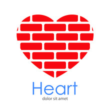 Logotipo Heart Con Corazón Con Ladrillos En Espacio Negativo En Color Rojo