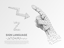 Origami Sign Language Z Letter, Arrow Showing How To Move, Low Poly Model Of Human Hand Pointing, Showing. Deaf People Silent Communication. Polygonal Connection Wireframe. Vector On White Background