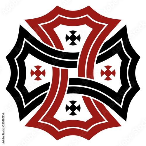 Keltisches Kreuz in Schwarz und Rot auf isoliertem weißem Hintergrund. Wall mural