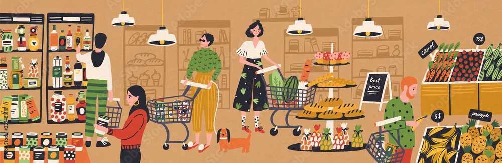 Fototapeta Men and women with shopping carts and baskets choosing and buying products at grocery store. People purchasing food at supermarket. Customers in retail shop. Flat cartoon vector illustration.