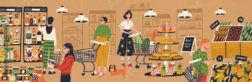 Men and women with shopping carts and baskets choosing and buying products at grocery store Fototapeta
