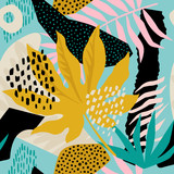 Collage contemporary floral hawaiian pattern in vector. Seamless surface design. - 239481443