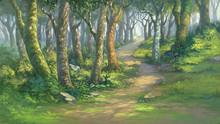 Fantasy Forest Background Illustration Digital Painting