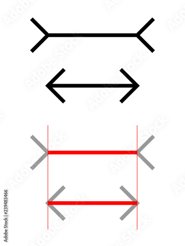 Cuadros en Lienzo The Muller-Lyer illusion is a optical illusion in which two lines of the same length appear to be of different lengths