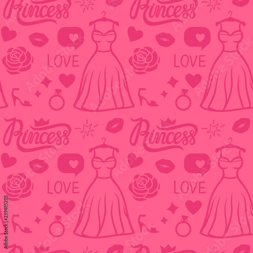 Poster Doodle Vector Pink Princess seamless pattern style. Hand drawn dress, inscription, rose, kiss and shoe. Girly surface design.