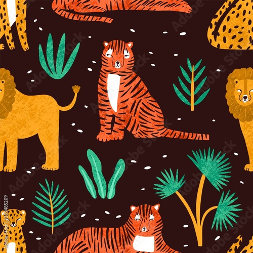 obraz PCV Childish seamless pattern with funny lions, tigers, leopards and leaves of tropical plants on dark background. Backdrop with cute wild exotic predators. Colorful vector illustration in flat style.