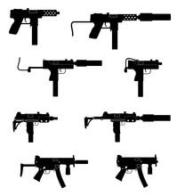 Submachine Machine Hand Gun Weapons Black Outline Silhouette Stock Vector Illustration
