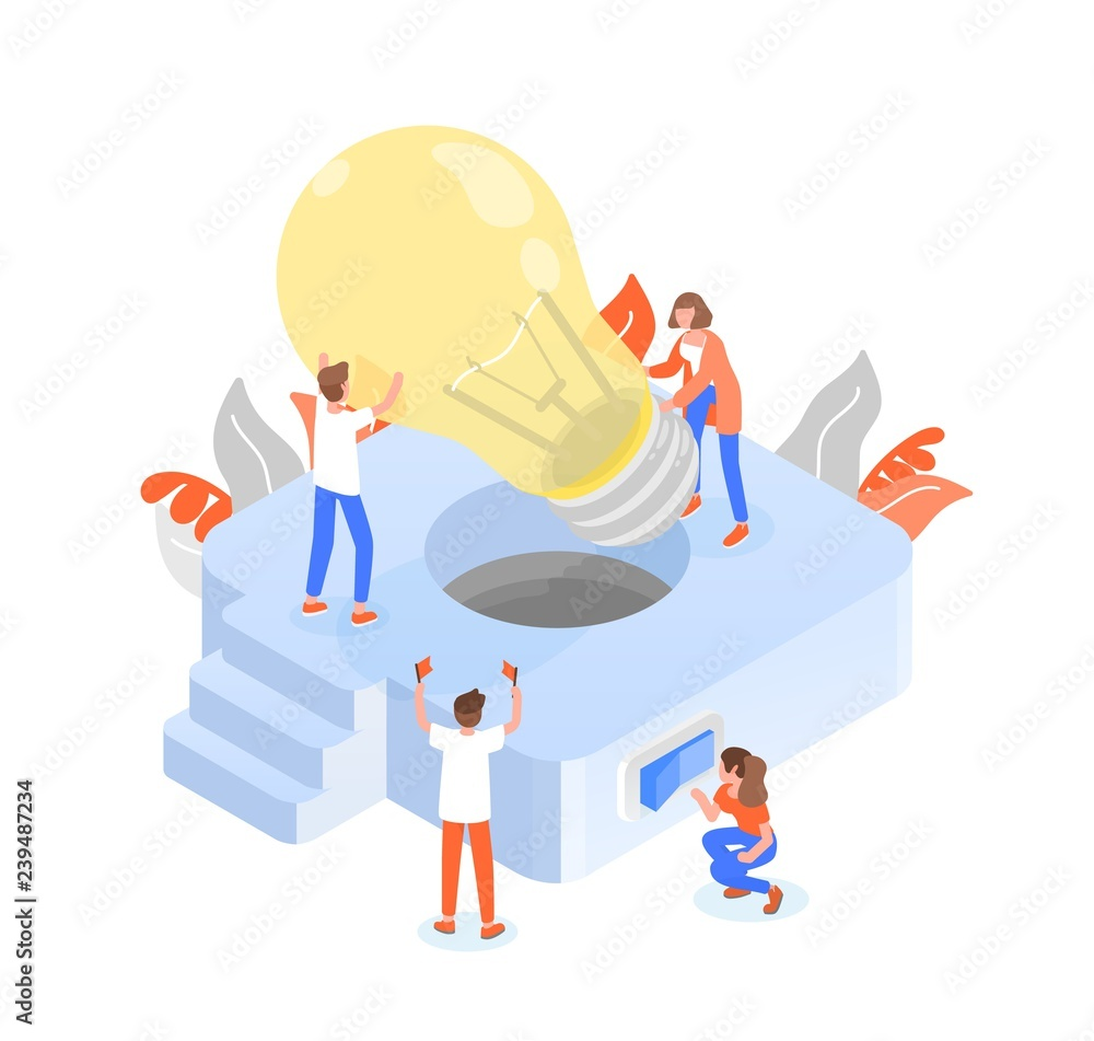 Fototapeta Group of people or team members putting giant lightbulb into light fixture. Teamwork or effective and efficient collective work, collaboration and cooperation. Colorful isometric vector illustration.