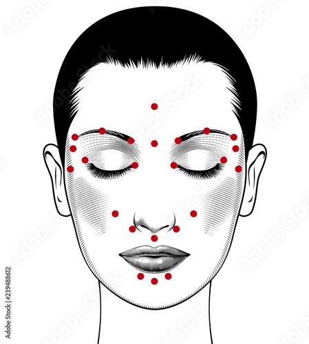 Fotografie, Obraz  Beautiful european woman face with instructions for facial acupressure with closed eyes