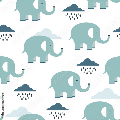 Happy elephants, clouds, hand drawn backdrop. Colorful seamless pattern with animals and water drops. Decorative cute wallpaper, good for printing. Overlapping background vector