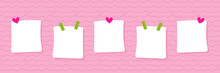 Set, Collection Of Cute Sticky Notes, Stickers On Pink Background For Valentines Day Design.