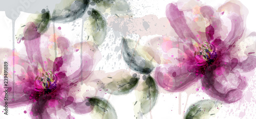 Fototapeta Pink lily flowers banner watercolor Vector. delicate floral blooming decor. Invitation card, wedding ceremony, postcard, Women day greeting. Flow colorful drops. Beautiful pastel colors obraz