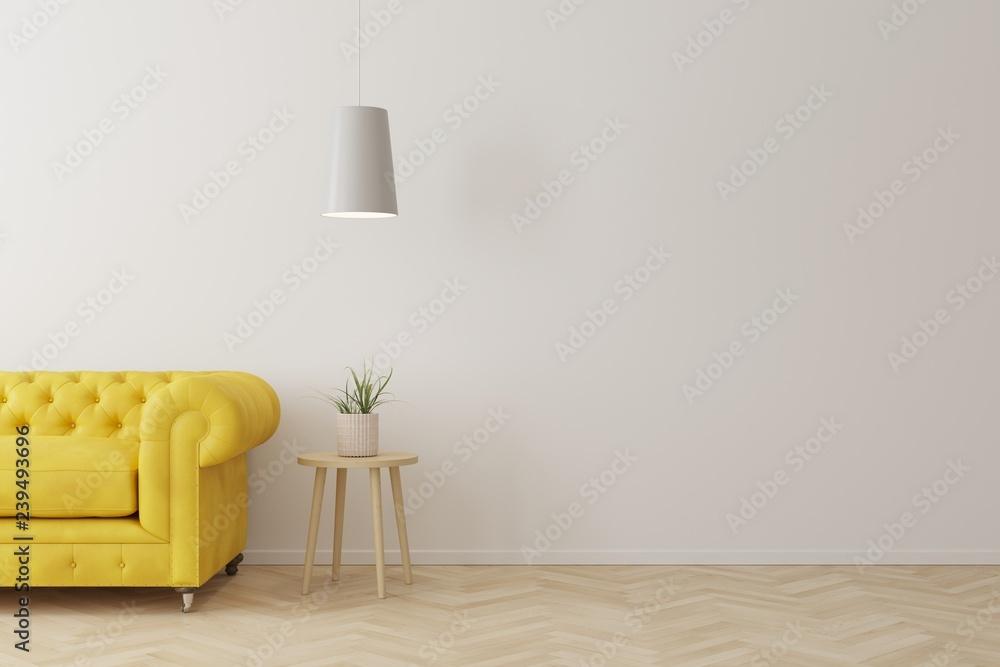 Interior of living room modern style with yellow sofa,wooden ...