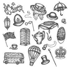Sketch Of London Symbols Objects Symbolizing England Vector Hand Drawn Illustration Of Great Britain UK Elements In Victorian Vintage Old Style