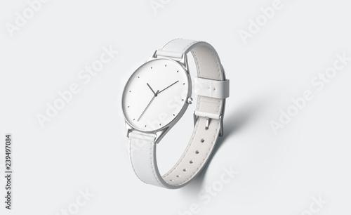 Slika na platnu Blank white watch with wristlet mockup, isolated, depth of field, 3d rendering