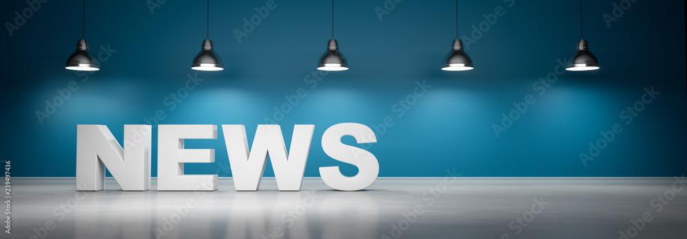 Fototapeta News vor blaugrüner Wand mit 5 Lampen