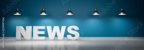 Obraz News vor blaugrüner Wand mit 5 Lampen  - fototapety do salonu
