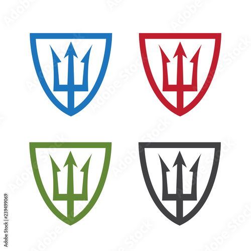Valokuva shields with neptune trident vector design template