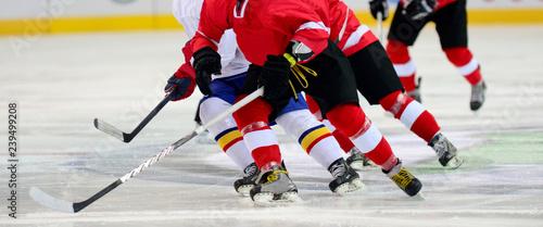 Ice hockey player on the ice. Team sport