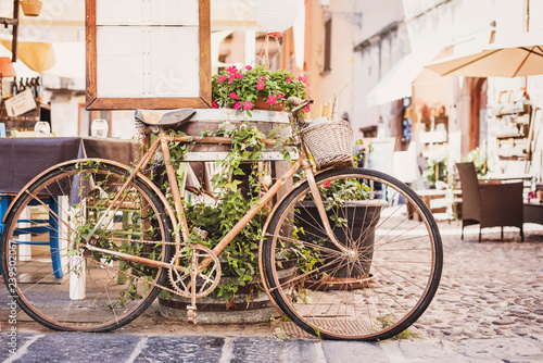 Old vintage retro bicycle with beautiful street at the