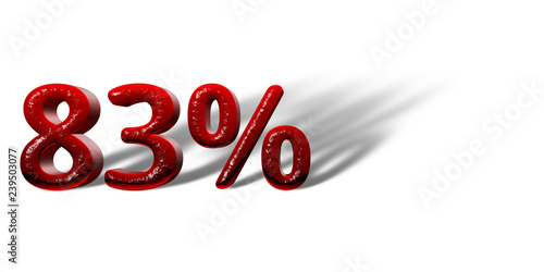"Fotografia  Red Number ""83%"" white background"
