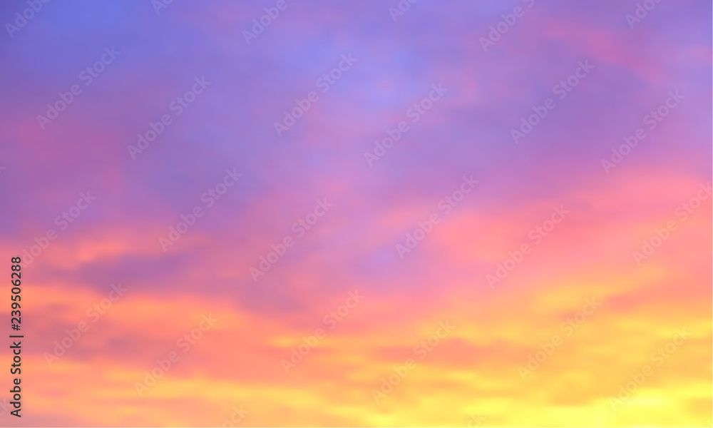 Fototapeta Sunset vector background. Sunrise wallpaper. Abstract beautiful heaven with clouds. Sunlight gradient blurred sky. Sundown backdrop.