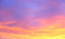 Sunset Vector Background. Sunrise Wallpaper. Abstract Beautiful Heaven With Clouds. Sunlight Gradient Blurred Sky. Sundown Backdrop.