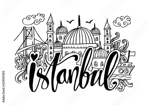 Fotografia  Hand Drawn Symbols Of Istanbul.