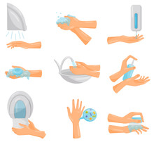 Washing Hands Step By Step Set...