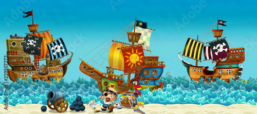 Aluminium Prints Pirates Cartoon scene of beach near the sea or ocean - pirate captain on the shore and treasure chest - pirate ships - illustration for children