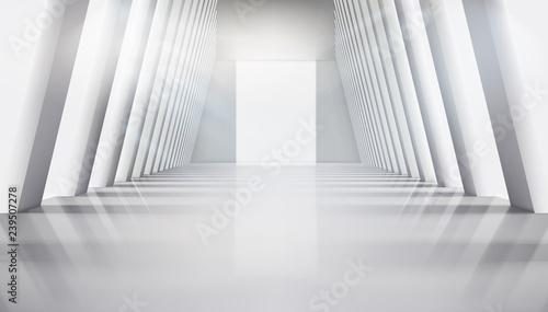 Fototapeta Empty hall with large windows. Interior illuminated by the rays of the sun. Vector illustration. obraz na płótnie