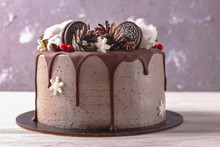 Christmas  Cake With Flowers And Chocolate. Wedding Details - Wedding Cake.  Winter Cake With Cones