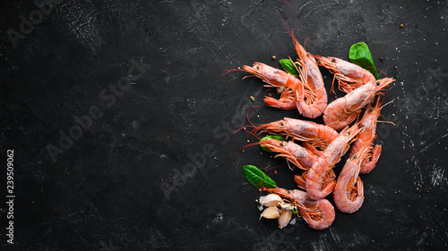 Large shrimp with lemon Wallpaper Mural