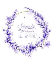 Pink Watercolor Lavender Wreat...
