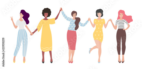 Diverse international group of standing women or girl holding hands Fototapet